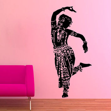Indian Woman Wall Decals Belly Dance Girl Dancer Gym Dance Studio Vinyl Decal Sticker Home Interior Design Art Mural Wall Decor KG705