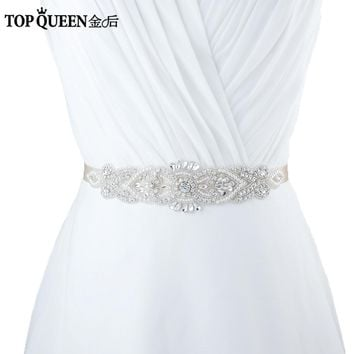 TOPQUEEN S208 Crystal Rhinestones Evening Party Prom Dresses Accessories Wedding Belt Sashes,Bride Waistband Bridal Sashes Belts