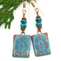 RESERVED. Turquoise and Terracotta Turtle Earrings, Petroglyph Czech Glass Copper Handmade Jewelry for Women