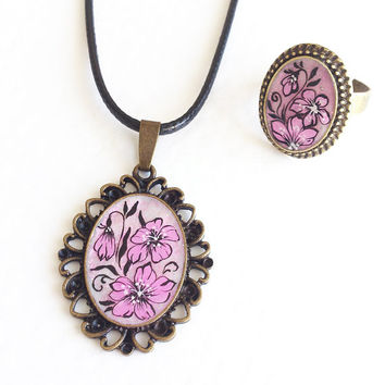 Sofia. Hand painted Pendant and Ring