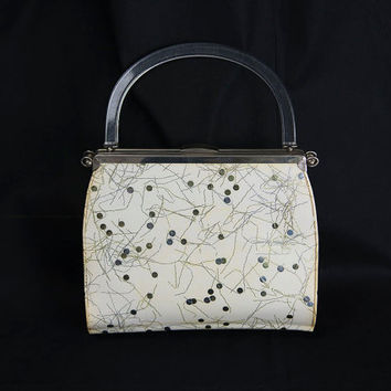 Vintage 1950s Atomic Icicles and Dots Bag Lucite Handle
