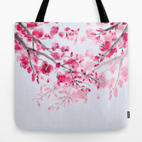 Cherry Blossom Tote Bag, Pink, delicate, chic floral, travel bag, gift for mom allover print accessories