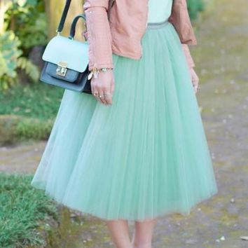 Mint Green Pleated Grenadine High Waisted Fluffy Puffy Tutu Skater Homecoming Cute Skirt