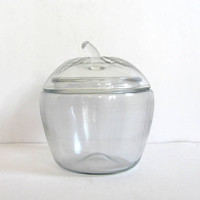 vintage Glass Apple Canister / Cookie Jar Embossed with Lid