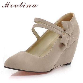 Meotina Shoes Women Pumps Spring Pointed Toe High Heels Mary Jane Ladies Shoes Wedge Heels Bow Wedges Aprcot Blue Big Size 9 10