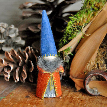 Little Waldorf Gnome, Waldorf Toy, Blue and Orange