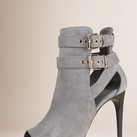 Buckle Detail Suede Peep-toe Ankle Boots