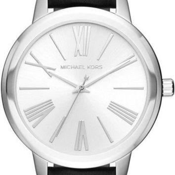Michael Kors Hartman Black Leather Silver Tone Dial Women's Watch MK2518 SD