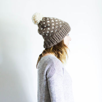 Knit Pom Pom Ski Hat Fair Isle Slouchy Beanie Toque | THE OXFORD | Taupe & Fisherman