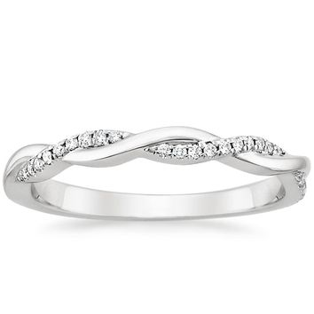 18K White Gold Petite Twisted Vine Diamond Ring (1/8 ct. tw.)