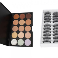 15 Color Professional Makeup Camouflage Concealer Palette+10 Pairs Long False Eyelashes Gift + Free Shipping + Big Discount