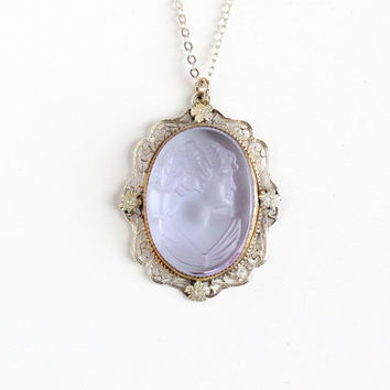 Vintage Art Deco Silver Tone Purple Glass Cameo Pendant Necklace - 1930s 1940s Flower Filigree Reverse Carved Female Silhouette Jewelry