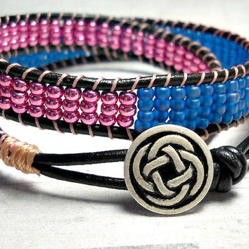 Double Wrap Bracelet, Eggplant and Blue Wrap Around, Womens Bracelet, Beaded Bracelet, Leather Wrap Bracelet