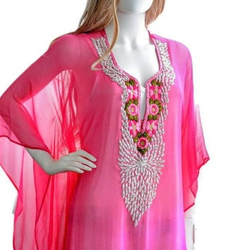 silk chiffon kaftan dress for beach or casual wear boho maxi caftan in fuschia embroidered/beaded caftan dress