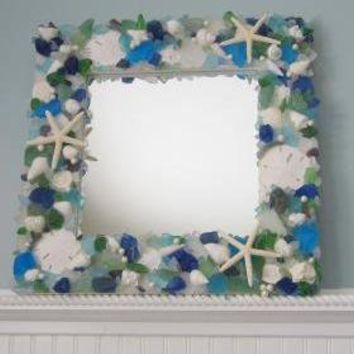 Sea Glass & Seashell Mirror Beach D.. on Luulla