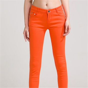 Women Pants 2016 Hot Selling Brief Style Trousers Solid Candy Colores Plus Size Slim Pencil Jeans Female Skinny 18 Colours K104