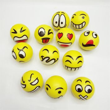 12pcs 6.3cm emoji Smiley Stress Ball Novelty Squeeze Ball Hand Wrist Exercise Squeeze Toys Smile Face For Children Adult
