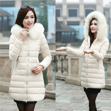 Women winter jacket femme parka natural fur collar thicken long coat adjustable waist duck down plus size slim warm ouertwear [8833404684]