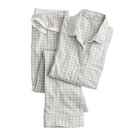 J.Crew Womens Pajama Set In Heathered Gingham Flannel