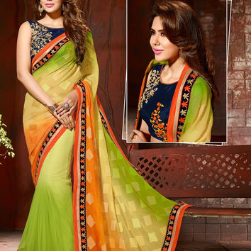 A1008 Designer Shaded Green Beige Orange Net Velvet Georgette Saree