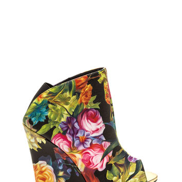 City Strut Floral Wedge Booties