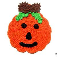 Orange Halloween crochet pumpkin potholder, presina arancione zucca per Halloween all'uncinetto