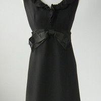 Vintage 1960s Black Mod Dress by Miss Elliette, Medium