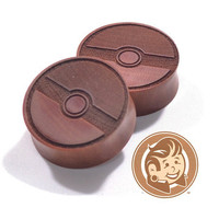 Pokeball Engraved Wood Plugs
