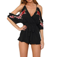 Sexy Cold Shoulder Embroidery Floral elegant jumpsuits And rompers   Style beach short playsuit Women overalls #23 SM6