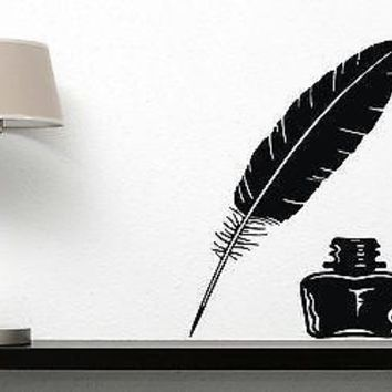 Wall Vinyl Sticker Decor vintage items for writing letters pen and Unique Gift inkwell(n199)