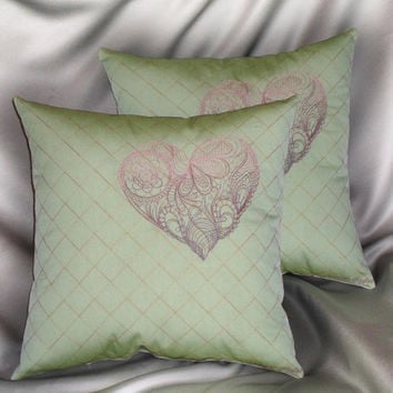 Lace heart decorative pillow in mint green 14x14 inch embroidered throw pillows (set of 2)- gold, purple, mauve and pink accent colors