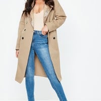 Missguided - Nude Snake skin Contrast Lapel Trench Coat