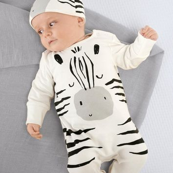 Zebra White Jumpsuit with Hat Set for Baby
