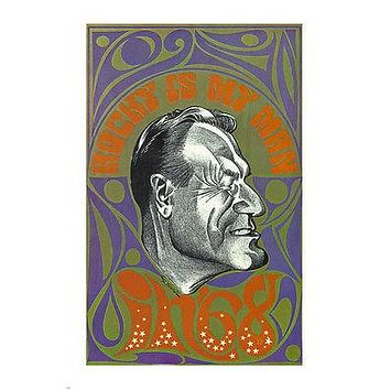 1968 rocky psychedelic VINTAGE POLITICAL POSTER United States 1968 24X36