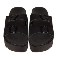 Double Buckle Flatform Slides
