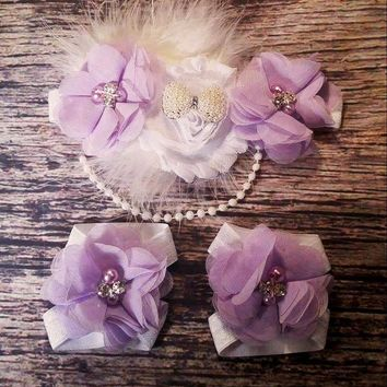 Beautiful Fancy Feather and Pearl White and Purple Baby Girl Headband and Barefoot Sandal Se