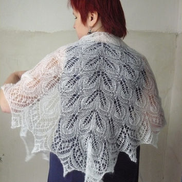 Knitted shawl, Lace shawl, Wool shawl, White shawl, Triangular shawl, Shawls and wraps, Crochet shawl, Scarf, Evening shawls, Gift for women