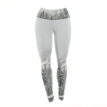 "Robin Dickinson ""Winter Wonderland"" White Gray Yoga Leggings"