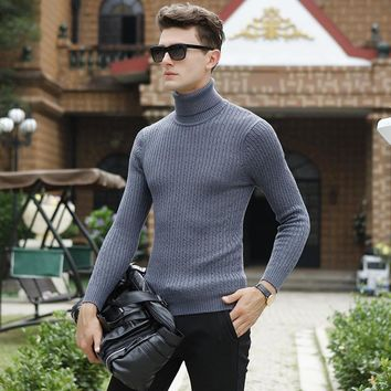 High Quality Winter Sweater Men Knitwear Pullover Slim Turtleneck Brand Men's Clothing Sweaters Striped Thin Male Sweater Pull