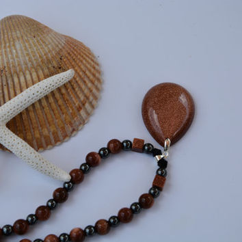 Goldstone and Hematite Necklace. Copper. Goldstone. Hemitite. Black. Silver. Necklace. Jewelry. Pendant. Sterling Silver