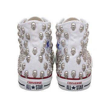 studded converse converse hi top with gold skull studs by customduo
