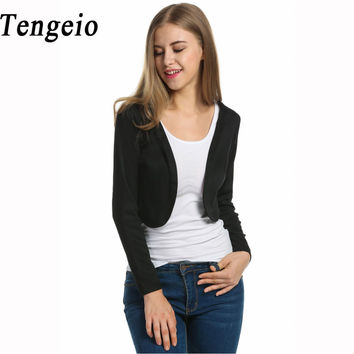 Tengeio Short Crop Sweater Cardigan Women Long Sleeve Open Stitch Summer Autumn Feminino Bolero Shrug Crop Cardigan Pull Femme