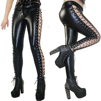 Women's Laced Up Gothic Leggings
