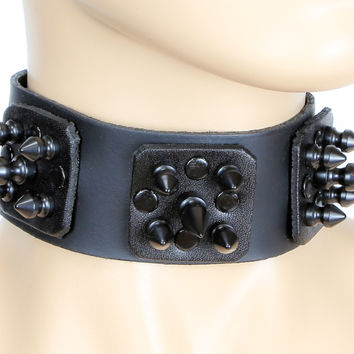 "Leather Plates Faceted Black Spike Metal Choker 1-1/2"" Wide Deathrock Collar"