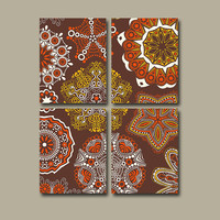 Wall Art Canvas Kitchen Bedroom Decor Brown Red Bathroom Mandala Ornament Design Floral Set of 4 Prints Bedding Comforter