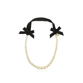 Lanvin Girls Pearl and Ribbon Necklace