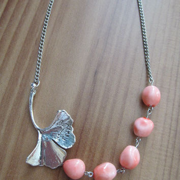 Antique Silver Necklace with Pink Coral Beads