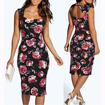Floral Print Sleeveless Slim Fit Pencil Party Dress