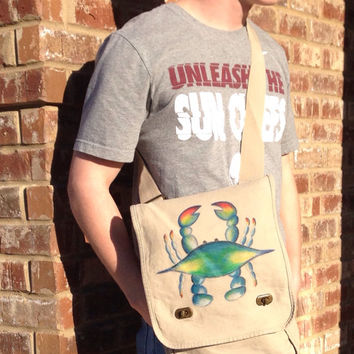 Messenger Bag With Hand Painted Blue Crab
