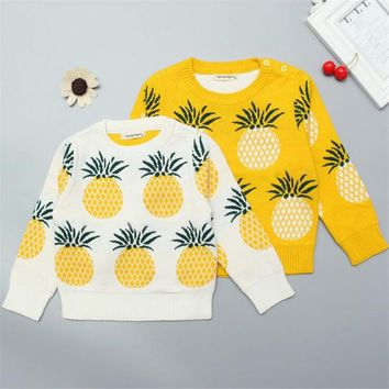 Baby Girls Sweater Autumn Winter Children's Pullover Pineapple Sweater Children Infant Girls Cute Lovely Sweater Shirt